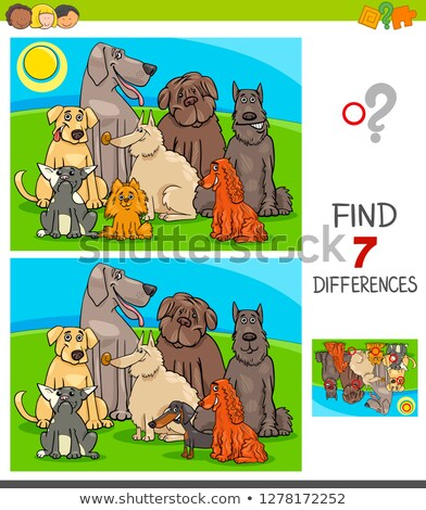 Différences jeu chiens cartoon illustration Photo stock © izakowski