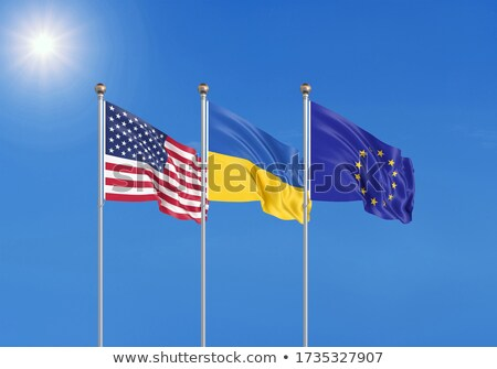 Two waving flags of United States and EU Stock photo © MikhailMishchenko