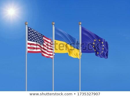 Twee vlaggen Verenigde Staten eu geïsoleerd Stockfoto © MikhailMishchenko