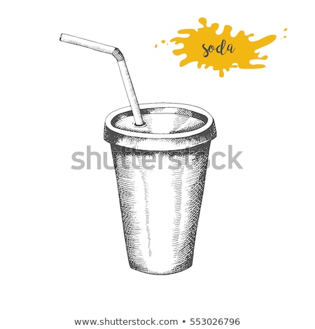 soda · plastic · beker · stro · schets · icon - stockfoto © rastudio