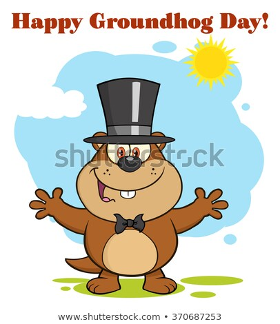 Happy Marmot Cartoon Character With Open Arms In Groundhog Day Stock photo © hittoon
