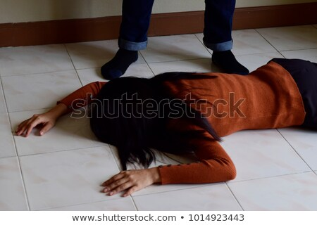 Robbery scene with victim and criminals Stock photo © colematt