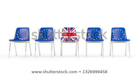 Row of chairs with flag of EU and united kingdom Stock photo © MikhailMishchenko