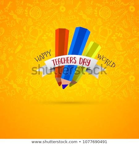 tanár · nap · üdvözlet · iskolatábla · alma · kék - stock fotó © netkov1
