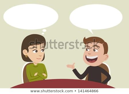 Stock fotó: Emberek · beszélnek · megbeszél · valami · vektor · poszter · emberi