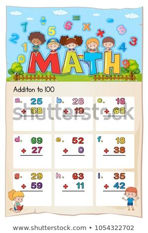 matematika · terv · 100 · illusztráció · gyermek · diák - stock fotó © colematt