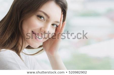 gyönyörű · fiatal · nő · tökéletes · bőr · hosszú · haj · izolált - stock fotó © dashapetrenko