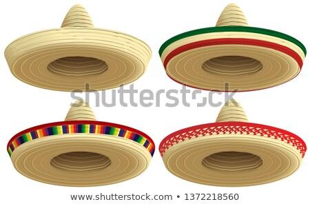 Meksika saman geniş kenarlı şapka şapka ayarlamak kapak Stok fotoğraf © orensila