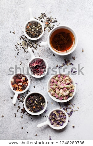 Various tea and teapot. Black, green and red tea Foto stock © karandaev