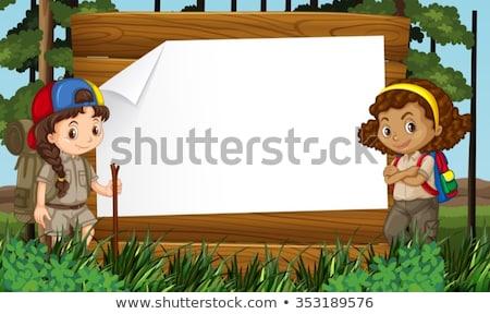 Lány felderítő természet keret illusztráció háttér Stock fotó © bluering