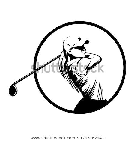 jogador · de · golfe · condução · para · baixo · céu · grama - foto stock © colematt