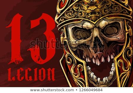 realistisch · gouden · schedel · hoofd · zwarte · typografie - stockfoto © Vicasso