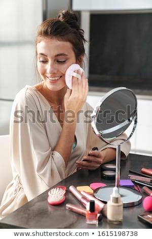 Kadın makyaj sünger güzel genç kadın Stok fotoğraf © AndreyPopov