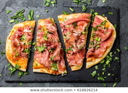 Spanish Ham Pizza Top View Stock photo © colematt