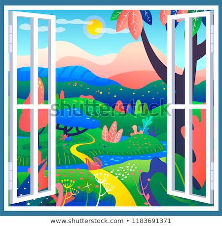 A nature landscape colouring template Stock photo © colematt
