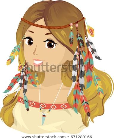подростка девушка богемский волос иллюстрация молодые Сток-фото © lenm