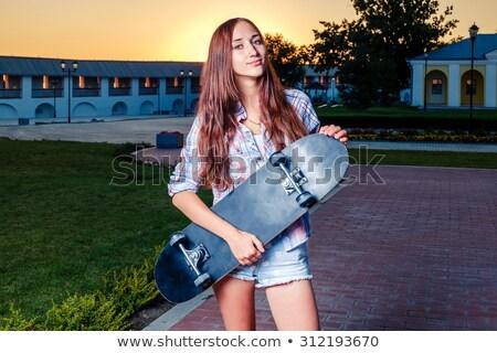 skater · meisje · mooie · mode · jonge · vrouw · poseren - stockfoto © jossdiim