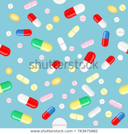 pills and capsules icons set pattern stock photo © netkov1