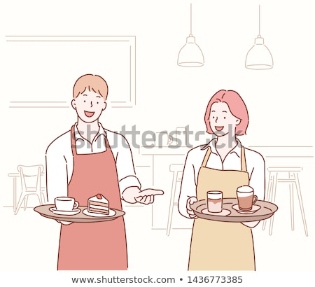 Waiter Holding Tray with Drinks and Cake Vector Stock photo © robuart