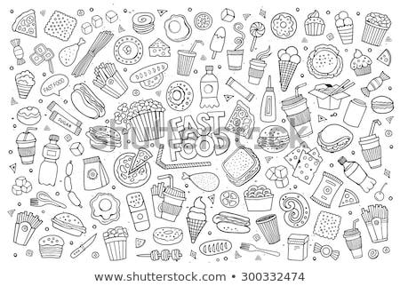 Firkák illusztráció gyorsételek tárgyak elemek kézzel rajzolt Stock fotó © balabolka