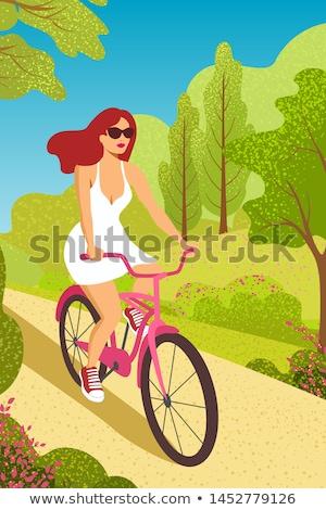 Summer Park Activities, Woman Riding Bike Vector Stock photo © robuart