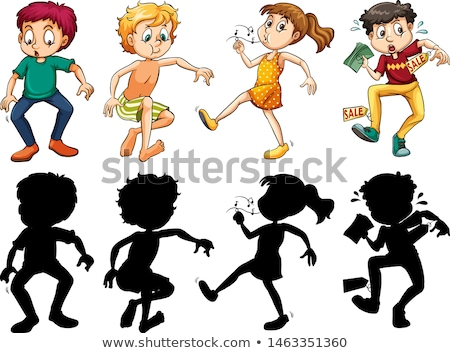 Silhouette, color and outline version with crazy kids Stock photo © bluering