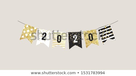 Numbers 2020 and Happy New Year greetings with flags and garlands Stock photo © ussr