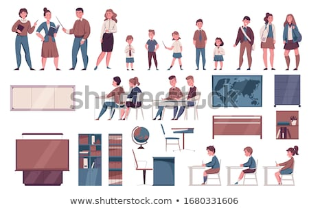 lesson in school students sitting by desks set stock photo © robuart