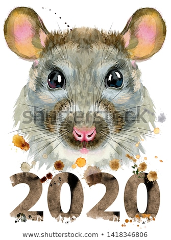 Watercolor portrait of rat with splashes and year 2020 Stock photo © Natalia_1947
