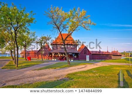 Jezioro pani plaży miasta widoku Zdjęcia stock © xbrchx