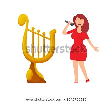 Zene díj űrlap hárfa hölgy énekes Stock fotó © robuart
