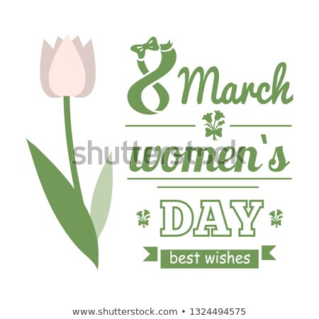 White Tulip, Womens Day, Best Wishes Card Vector Stock photo © robuart