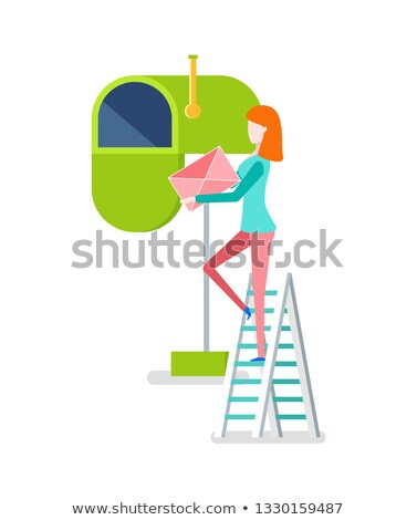 Woman on Stairs Putting Envelope in Mailbox Vector Stock photo © robuart