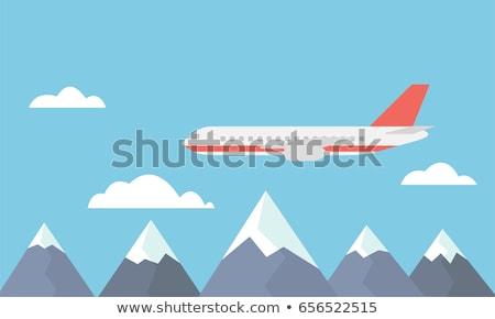 airplane flying over the clouds flat design stock photo © shai_halud