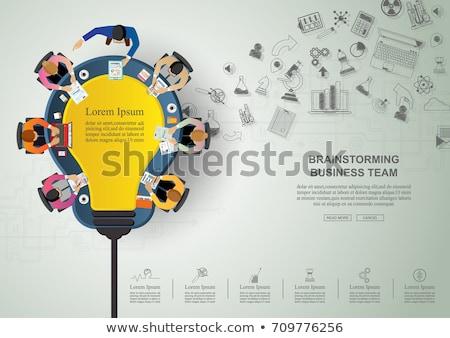 Stockfoto: Business · idee · zakenlieden · handdruk · groot · lamp