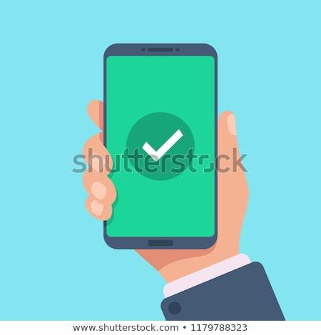 Betaling mobiele telefoon vrouw telefoon technologie groene Stockfoto © ra2studio