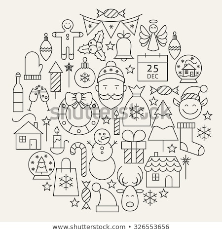 Nouvelle année symboles cercle forme linéaire Noël Photo stock © Decorwithme