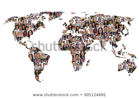 Social world map of diverse international people Stock photo © cienpies