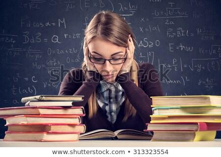 Zavart tini diák lány szemüveg iskola Stock fotó © dolgachov