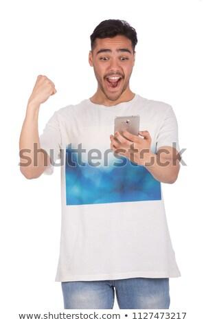 Mutlu adam yumruk pompa Stok fotoğraf © dolgachov