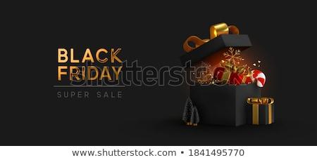 black · friday · vásár · szalag · ajándékok · dobozok · vektor - stock fotó © robuart