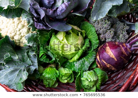Variety of cabbages in wooden basket Stock photo © Illia
