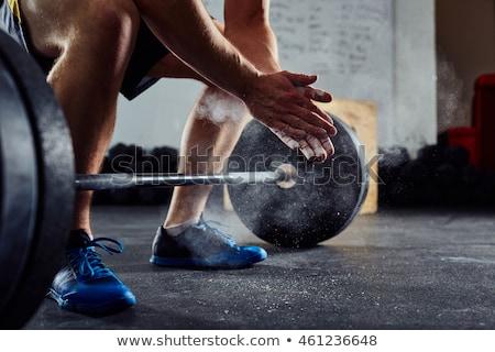 Súlyemelés képzés tornaterem izmos férfi nehéz Stock fotó © oxygen64