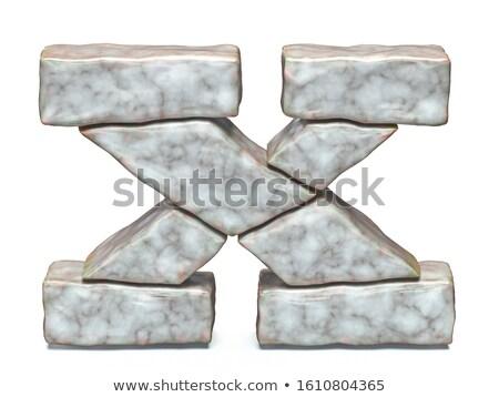 Rock masonry font letter X 3D Stock photo © djmilic