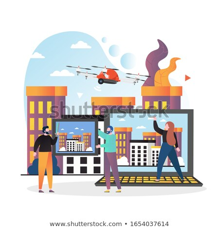 Helicopter or Drone Flying Over Skyscrapers Vector Stock photo © robuart