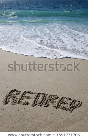 Pension écrit plage sable mer Voyage Photo stock © AndreyPopov