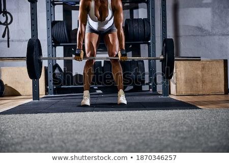 Kép erős afroamerikai sportoló testmozgás súly Stock fotó © deandrobot