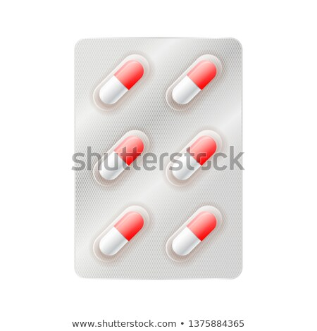 Red and white medicine capsules, six pills in blister on white Stock photo © evgeny89