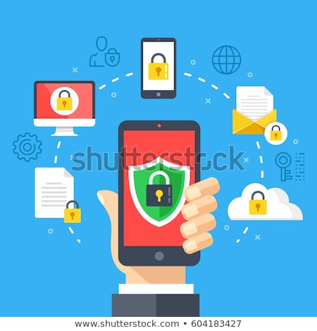 Mobile security, data protection concept. Modern flat design graphic elements Stock photo © natali_brill