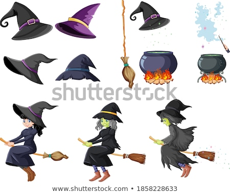 Set of wizard or witches with magic tools cartoon style isolated Stock photo © bluering